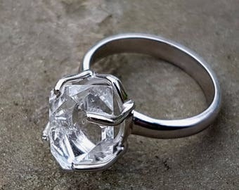 Herkimer Diamond 925 sterling silver ring, Raw Crystal Quartz ring,Amazing gift,Occasion ring,size 7