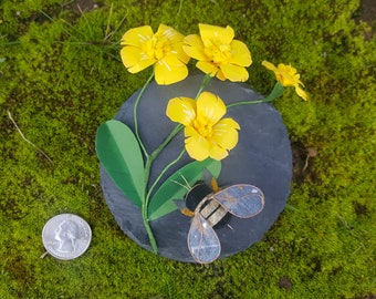 Honeybee with Buttercups on Slate
