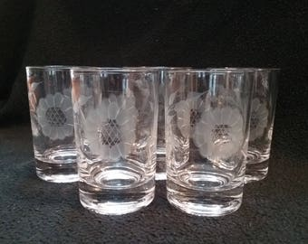 Vintage Crystal Juice Glasses - Cornflower Pattern