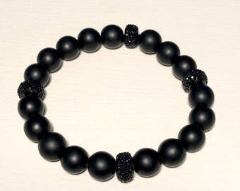 Men's 10mm Onyx with Black Pave Rondelles