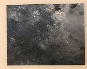 Grayscale Acrylics on Raw Canvas