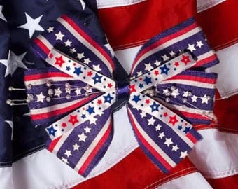 Stars and Stripes American Hair Bow