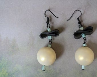 Bow Tie (handmade earrings from recycled bicycle inner tube and beads)