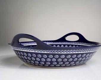 Polish Pottery Boleslawiec, Big Dish with Handles