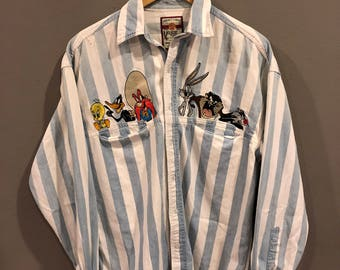 Vintage Looney Tunes Shirt Button Down Size S