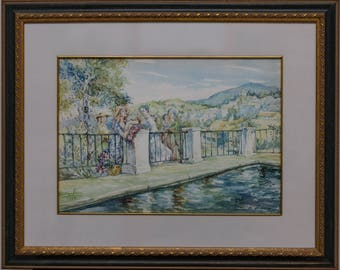 Painting in vintage watercolor by Rodrigo Vivar with glass frame.