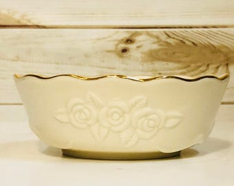 Lenox Rose Blossom Bowl with Certificate 24K Gold Rim