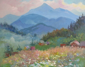 Painting Mountain landscape Original painting  Summer Oil art by  Anna Trachuk