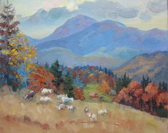 Аutumn Mountains, Golden autumn, Mountain Landscape, Carpathian Mountains, Original painting, Canvas Painting, Oil art by Anna Trachuk