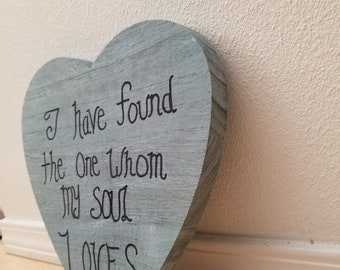 "Blue heart vintage/boho wedding sign ""i have found the one whom my soul loves"""