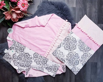 Set of cuddly blanket with name and pillow cover