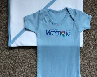 Secretly I'm a Mermaid baby grow and hooded towel