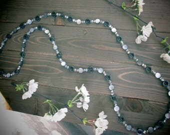 Silver and Grey Long Handmade Necklace