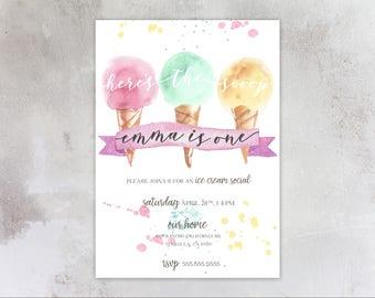 Ice Cream Social 1st Birthday Invitations