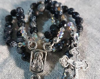 Handmade Rosary. Made with Black Agate beads and swarovski crystals. Perfect companion with you during prayers