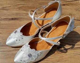 Wedding Shoes Bridal Shoes Ballroom Dance Shoes Size US8 UK5.5 EU39 2.5 Inches Heel Ready to ship W001