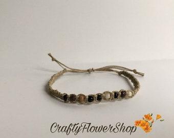 Seed beaded Hemp bracelet