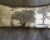 Grey white trees print decorator throw pillow cover 25x11 inches rectangle