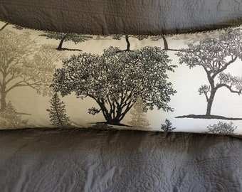 Grey white trees print decorator throw pillow 25x11 inches rectangle with feather insert