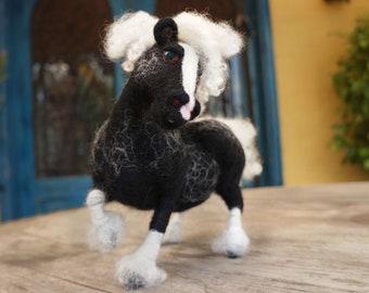 Black and White Wool Felted Pony/Gypsy Pony