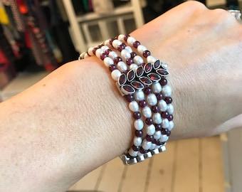 Garnet & Pearl Silver Bracelet