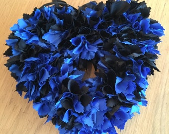 Lovely blue and black silky fabric heart