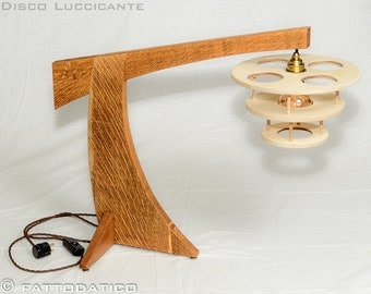 wooden table lamp; Disco Luccicante