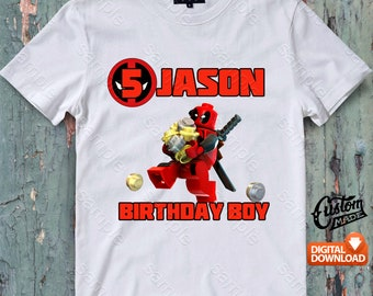 Lego Deadpool Iron On Transfer, Lego Deadpool Birthday Shirt DIY, Lego Deadpool Shirt Designs, Personalize, Digital Files