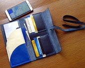 Handmade genuine leather travel wallet, amazing travel wallet, blue travel wallet