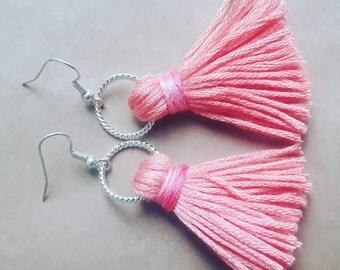 Coral Pink Tassel Earrings