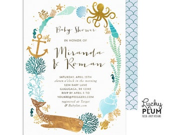 Ocean Baby Shower Invitation / Couples Coed Baby Shower Invitation / Whale Baby Shower Invitation /  Nautical Under the Sea Twins