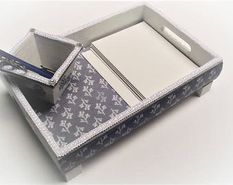 Desk tray. gray and white cotton fabric,  jewelry tray, small pen/earring holder, bathroom decor, desser tray, white trim and added feet