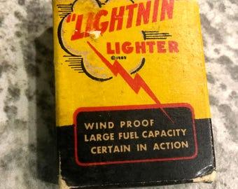 Vintage Rare Lightnin Cigarette Lighter with Original Box 1940 Era
