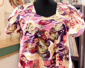 Asian flower and crane kaftan . vintage cotton lounge dress with tulip sleeves and ruffled hem . ONE SIZE