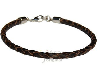 4mm dark brown braided leather bracelet or anklet metal clasp