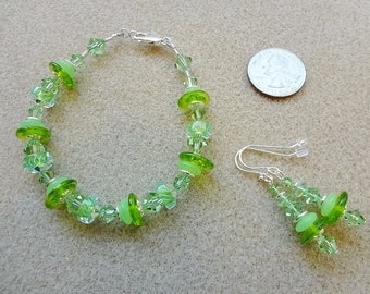 Bracelet and Earrings Set - Handmade - Swarovski, Lampwork, Furnace / Cane Glass, Sterling Silver