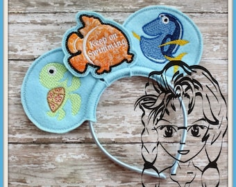CLOWN FISH Blue Fish (3 Piece) Mr Miss Mouse Ears Headband ~ In the Hoop ~ Downloadable DiGiTaL Machine Embroidery Design by Carrie