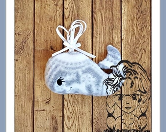 WHALE Girl or Boy Rattle Plush Toy  ~ In the Hoop ~ Downloadable DiGiTaL Machine Embroidery Design by Carrie