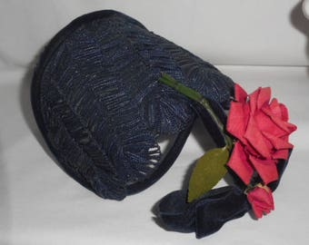 Evelyn Varon Model Hat Unique Half Shape Rose Velvet Bow FascinatorsTail Victorian Style