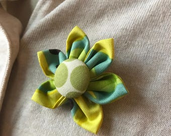 Green and Yellow Fabric Brooch, Flower Pin - Handmade Fabric Flower