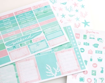 underwater planner stickers, decoration kit, mint pink pastel, sea, coral, summer, star, fish, beach, ocean, holiday, tropical, DSG3