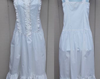80s White Cotton Country Dress / Vintage Drop waist Sundress // Wedding or Prom PARTY Dress / Sml