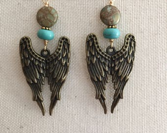 Evening Sky - Bronze Angel Wing Dangle Earrings