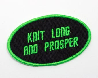 Embroidered Patch, Badge, Knitting, Knit Long and Prosper