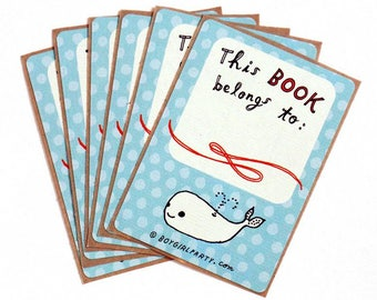 This Book Belongs To STICKERS - WHALE GIFTS book stickers, Ex Libris bookplate stickers, book label, personal library, book themed gifts