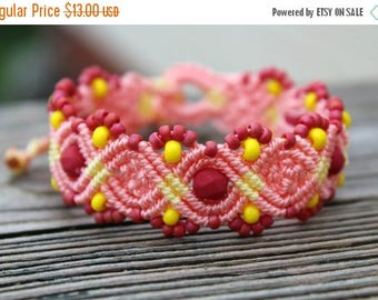 SALE Micro-Macrame Beaded Bracelet - Pink and Yellow