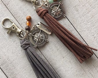 READY TO SHIP - Wanderlust Bag Charm, Mini Tassel with Compass and Fearless Charm- Travel Gift, Adventurer Outdoor Explorer, Compass (ST113)