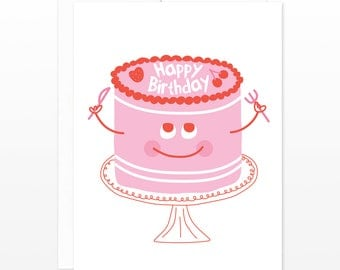 Pink Happy Birthday Cake Card - Cute Birthday Greetings - Cake Will Eat Itself - Cake with Knife and Fork - Funny Birthday Card