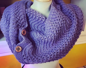 Fan and Feather Purple Mega Cowl with Buttons