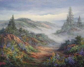 Far Horizon, Mountain Landscape , Original Oil Painting, California landscape,  Fine art,  by Griselda Tello.